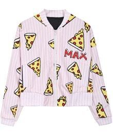Pink IDK I JUST WANT PIZZA MAX Vertical Stripes Jacket