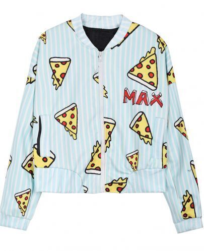 Light Green IDK I JUST WANT PIZZA MAX Vertical Stripes Jacket