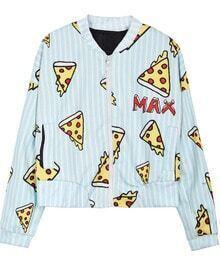 Light Green IDK I JUST WANT PIZZA MAX Vertical Stripes Jacket