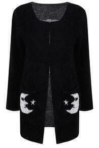 Black Collarless Moon Star Fluffy Sweater Coat