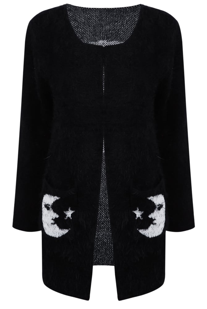 Black Collarless Moon Star Fluffy Sweater Coat -SheIn(Sheinside)