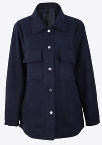 Navy Lapel Pockets Front Curved Hem Woolen Shirt Coat