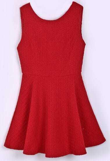 Red V-back Jacquard Sleeveless Flare Hem Dress