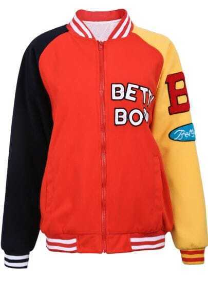 Red BETTY BOOP Contrast Sleeve Bomber Jacket
