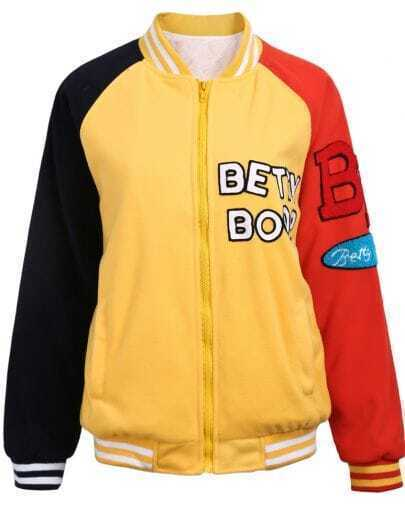 Yellow BETTY BOOP Contrast Sleeve Bomber Jacket