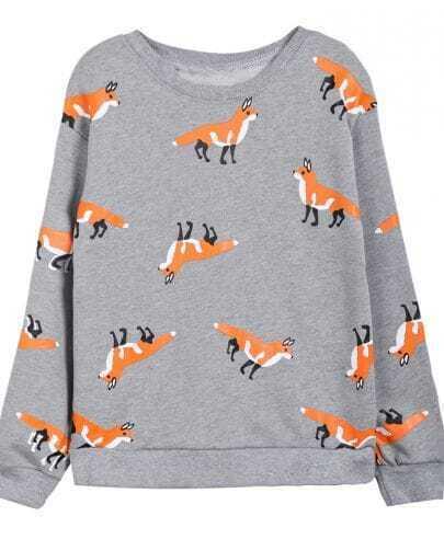 Grey Round Neck Fox Print Sweatshirt