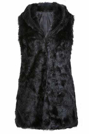Chaleco largo con capucha pelo sintético-Negro