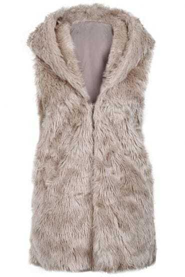 Apricot Faux Fur Hoodie Longline Vest