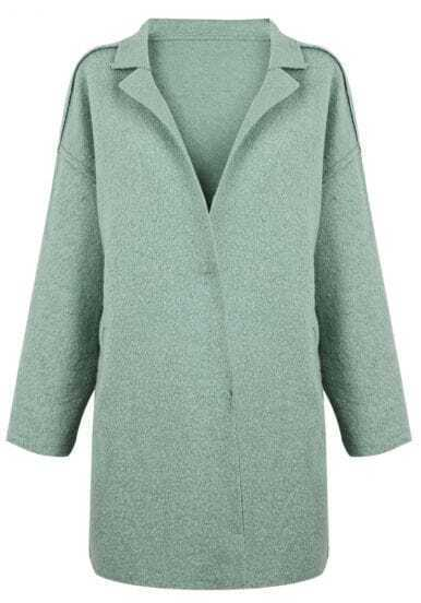 Green Notch Lapel H-line Wool-blend Coat