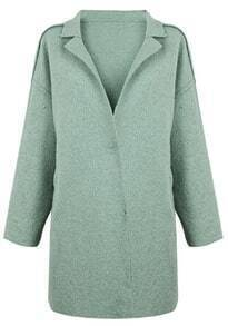 Green Notch Lapel H-line Wool-blend Coat