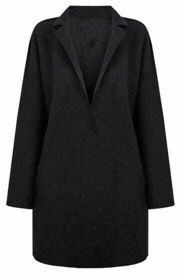 Black Notch Lapel H-line Wool-blend Coat