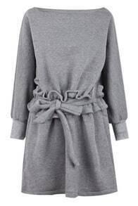 Grey Boat Neck Ruffle Waits Long Sleeve Dress