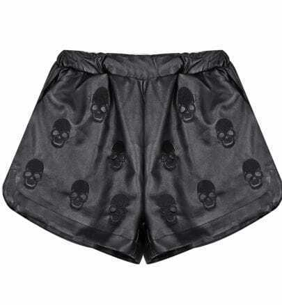 Black Embroidery Skull PU Leather Shorts
