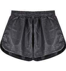 Black Snakeskin Print PU Leather Shorts