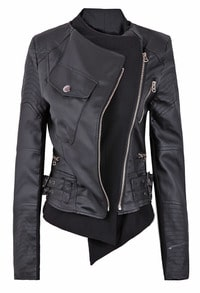 Black Zipper Embellished Faux Leather Biker Jacket