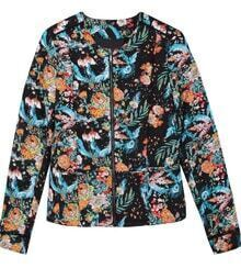 Black All Over Floral Print Jacket