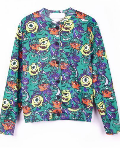 Green All Over Cartoon Print Long Sleeve Jacket