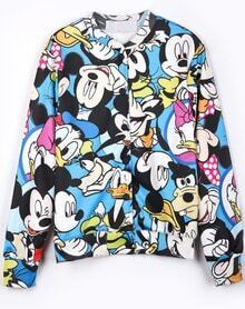 Blue All Over Mickey Mouse Print Long Sleeve Jacket