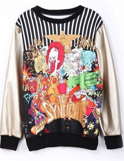 Gold PU Leather THE SYNDICATE Print Sweatshirt