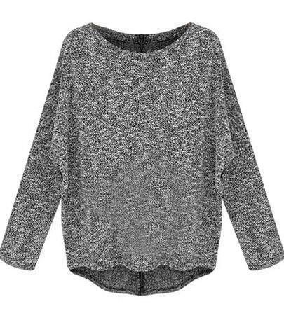 Grey Batwing Sleeve Flecked Zipper Back Sweater