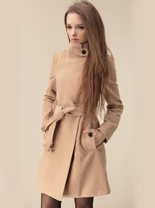 Camel Wide Lapel Belt Oblique Zipper Wool-blend Coat