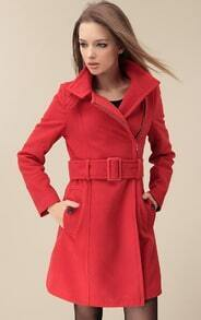 Red Wide Lapel Belt Oblique Zipper Wool-blend Coat