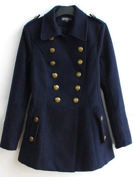 Navy Double Breasted Military Wool-blend Short Coat -SheIn(Sheinside)