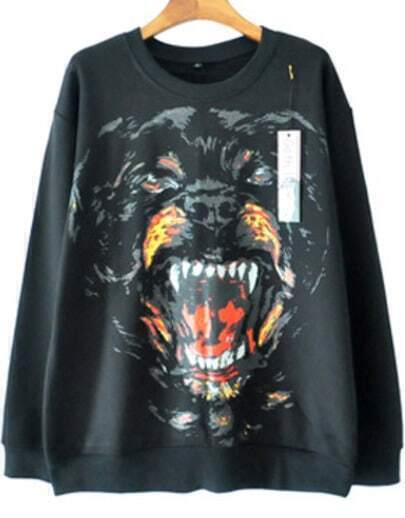 Black Ferocious Dog Head Print Sweatshirt