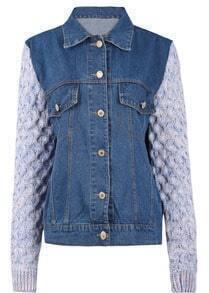 Dark Blue Denim Contrast Knitting Sleeve Denim Jacket
