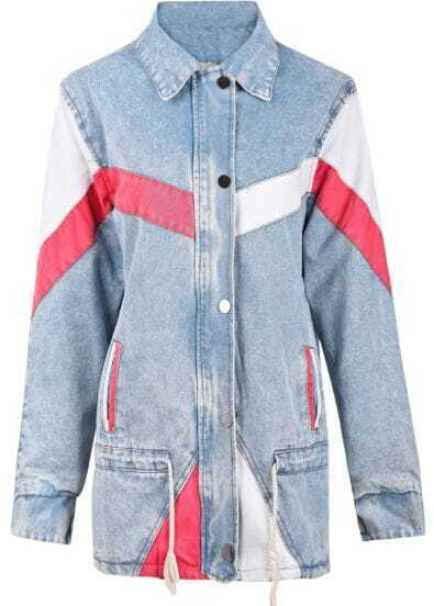 Light Blue Contrast Panel Drawstring Fleece Inside Denim Coat