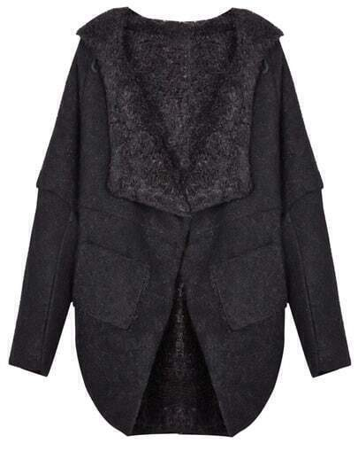Black Batwing Sleeve Hood Wool-blend Cape Coat