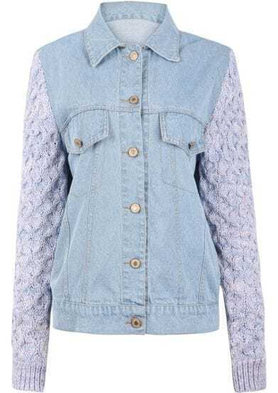 Light Blue Denim Contrast Knitting Sleeve Denim Jacket