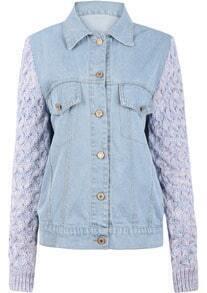 Light Blue Denim Contrast Knitting Sleeve Denim Jacket