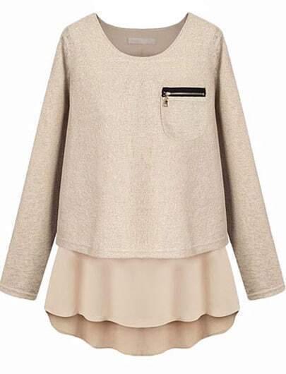 Apricot Zipper Pocket Contrast Hem Split Back Sweater