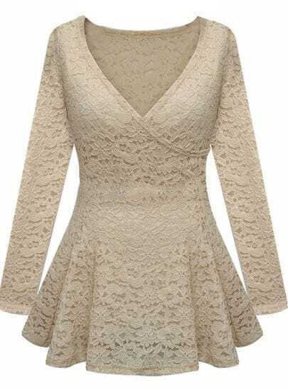 Apricot Long Sleeve Wrap Front Ruffle Hem Lace Top