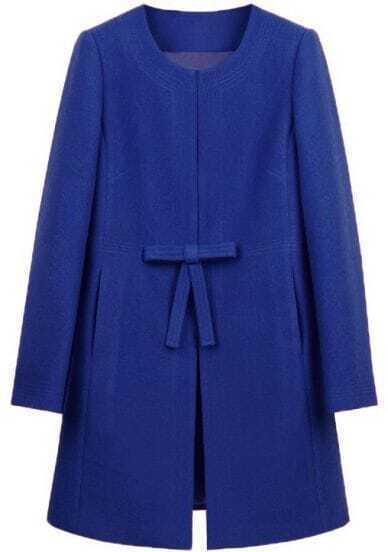 Royal Blue Bowknot Front H-line Simple Wool Blend Coat