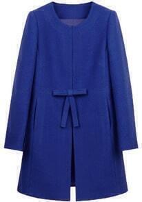 Royal Blue Bowknot Front H-line Simple Wool Blend Coat
