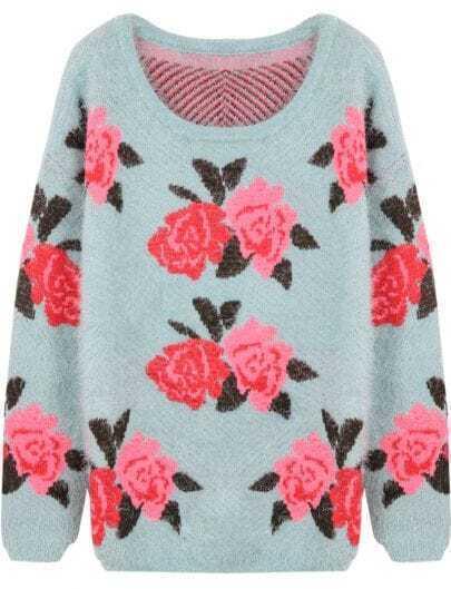 Green Long Sleeve Flowers Pattern Shaggy Sweater