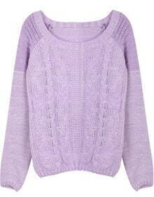 Purple Contrast Shoulder Long Sleeve Cable Knit Sweater