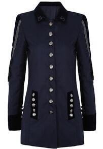 Navy Long Sleeve Tassel Buttons Blazer