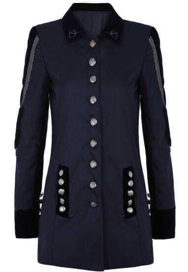Navy Long Sleeve Tassel Buttons Blazer