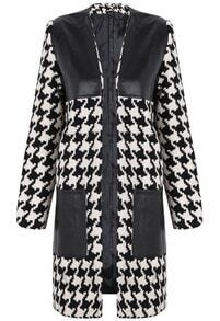 Black White Contrast PU Leather Houndstooth Outerwear