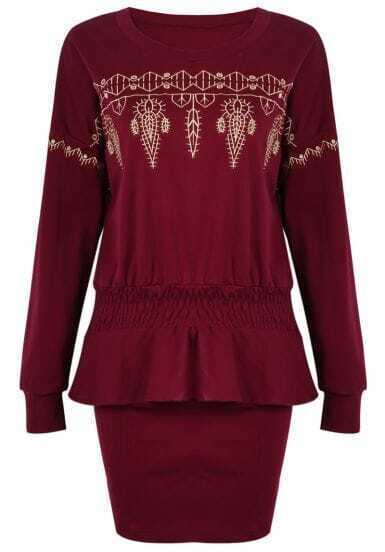 Wine Red Long Sleeve Ruffle Embroidered Top With Skirt