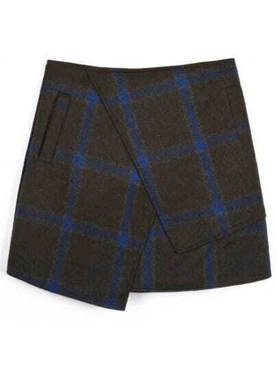 Army Green Plaid Asymmetric Wool-blend Skirt