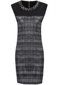 Grey Sleeveless Rhinestone Neckline Contrast PU Leather Dress
