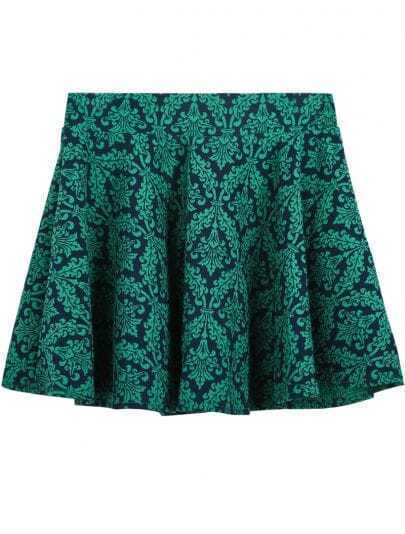 Green Jacquard Florals Flare Skirt