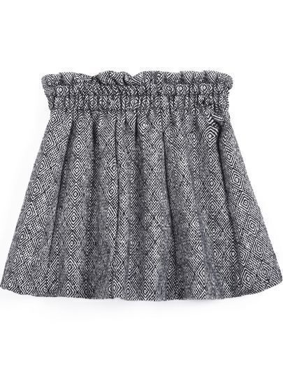 Grey Geometric Pattern Elastic Waist Skirt
