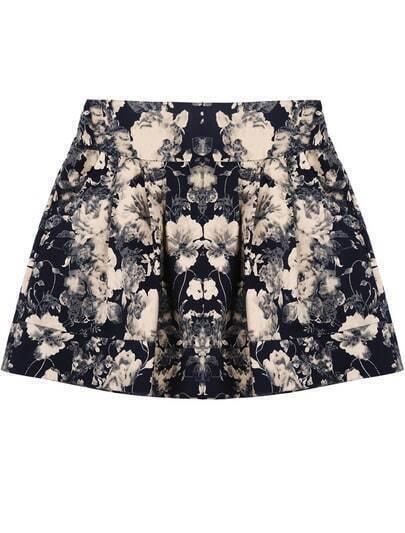 Black Florals Pattern Elastic Waist Skirt