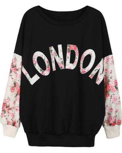 Black Contrast Florals LONDON Print Sweatshirt