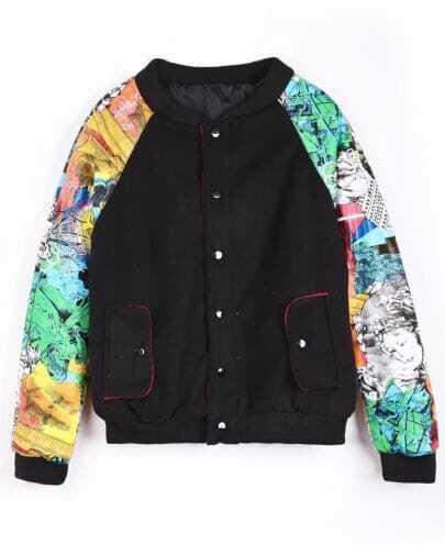 Black Contrast Florals Sleeve Bomber Jacket